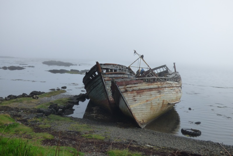 Boats at                                       Salen in the mist